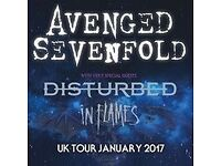 2x Avenged Sevenfold + InFlames + Disturbed Tickets - 22nd January @ 02 Arena London- Standing