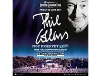 4 Tickets PRIORITY ENTRANCE for Phil Collins BST concert in Hyde Park 30th of June
