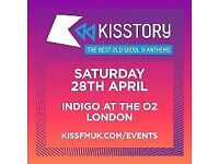 2 x Kisstory tickets SOLD OUT EVENT sat 28 April, 02, RnB, old Skool anthems, @ Indigo London,
