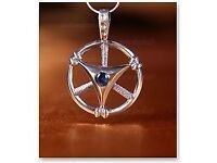 HEAVENLY CIRCLE FOR MEDITATION PENDANT STERLING SILVER 925 WITH GEMSTONE