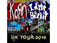 3x Standing tickets for Korn & Limp Bizkit Glasgow