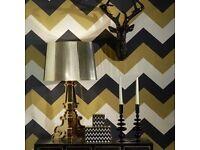 Glitter - Arthouse Glitterati Chevron Black Gold Wallpaper 892300