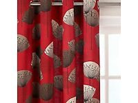 Sanderson Lined Eyelet Curtains: Dandelion Clocks Design, red