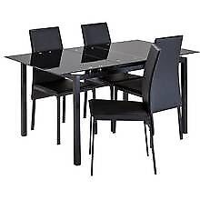 Black glass extendtable table