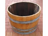 vintage solid oak half barrel large one
