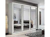 bedroom furniture-Lux 3 Door Sliding Full Mirror Wardrobe in White and Black Color