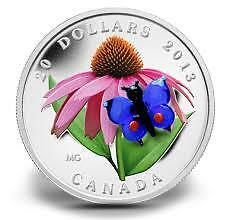 Purple Coneflower and Eastern Tailed Blue (Murano Glass) Coin