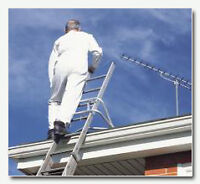 Roofer or person with ladders for simple cleaning jobs