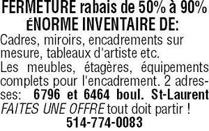 VENTE DE FERMETURE 50% À 90% DE RABAIS!!