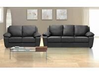 BRAND NEW LEATHER 3+2 SOFA BLACK OR CHOCOLATE BROWN + DELIVERY + FREE STORAGE POUFFE