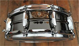 "Ludwig Black Beauty Rare 14 x 5"" 100 years anniversary addition snare drum with a soft case"