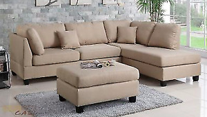 Linen Sectional Sofa with Reversible chaise (brand new in box)