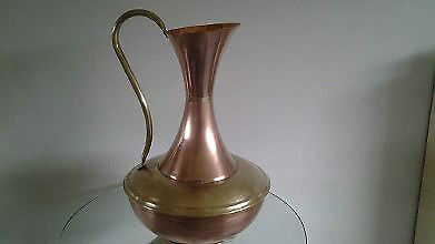Large Vintage Copper And Brass Pitcher.