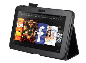 Kindle Fire 8.9 HD Leather Case Black with Stand Amazon 8.9
