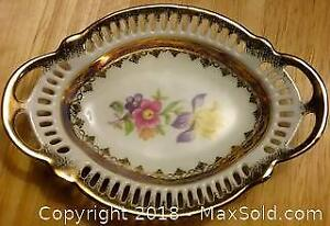 Vintage Dresden Reticulated China Tray Basket From Germany