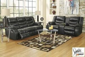 FANTASTIC Black Leather Movie Theatre Couches (Reclining)