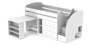 White Kids Twin Captains Bed & Desk