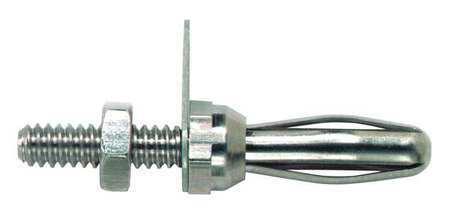 POMONA 3263 Banana Plug with Thrded Stud,Silver,PK10