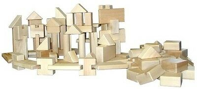 Maple Blocks Set - BEKA HARD MAPLE WOODEN UNIT BLOCKS LITTLE BUILDER 100 PIECES SET NOTCHED USA NEW