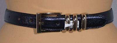 "NWT ST. JOHN Knits Navy Blue Metallic Leather Belt Waist = 28"" - 32"" sz M"