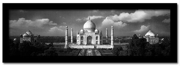 Framed Faux Canvas: Taj Mahal on a Cloudy Day - 18x7 -Islamic Art/Decor/Gift