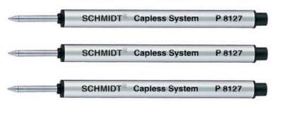 3 Schmidt P8127 Pen Refills, Fits Retro 51 #REF5P-B Tornado Rollerball, Black Md ()