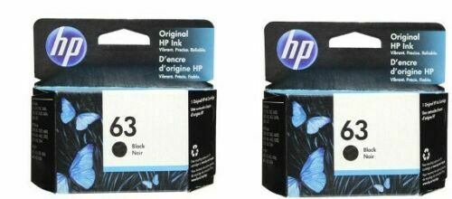 HP #63 F6U62AN Black Ink Cartridge 2 pack NEW GENUINE