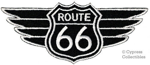 ROUTE 66 WINGS EMBROIDERED PATCH BLACK IRON-ON APPLIQUE Highway Road Sign Biker