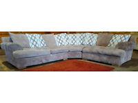 Corner sofa. Light Brown beige teal. Can deliver