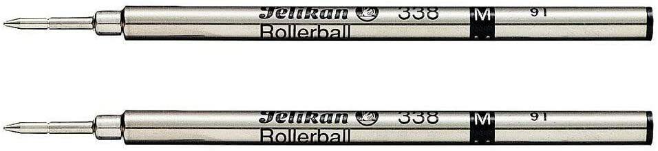 Genuine Pelikan 338 Rollerball Pen Refill, Black Medium, 2 Pack, Brand New Collectibles