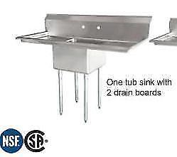 *RESTAURANT EQUIPMENT PARTS SMALLWARES HOODS AND MORE* POT SINK WITH 2 DRAIN BOARDS NEW .