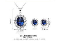 Blue Sapphire and crystals necklace and earrings set