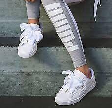 White Puma Patent Ribbon bow trainers