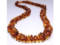 Raw Baltic Amber Teething Necklace, multicolor, Baroque Style, 36 cm