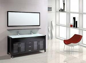 "*WOW** Marbaya 60"" Double Sink Bath Vanity WHITE / ESPRESSO **BLOW OUT** $899"