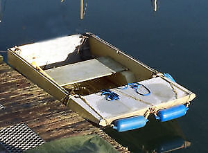 CHECKERPLATE  FLAT BOTTOM DINGHY AND TRAILER