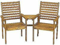NAPOLI WOODEN COMPANION GARDEN BENCH CHAIRS SET