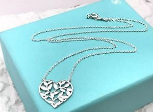 Tiffany Sterling Silver Paloma Picasso Olive Leaf Heart Necklace