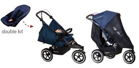 Phil and Teds double pushchair - BLACK