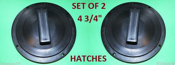 """SET OF TWO 4 3/4"""" round access Hatch cover lid Screw out Deck RV CAMPER BOAT BLK"""