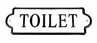 Metal Toilet Sign Vintage Inspired Wall Mounted Bathroom Plaque Black & White