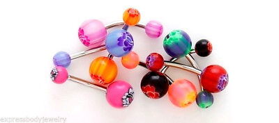 Navel Belly Button Ring Flower Purple / Green #4 14g Acrylic & Surgical Steel Acrylic Purple Navel Ring