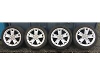 "17"" Genuine Audi a3 (2008-2013) wheels with 3 good tyres (4mm) PCD 5x112"