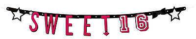 Sweet 16 Buchstaben Banner NEU - Partyartikel Dekoration Karneval Fasching