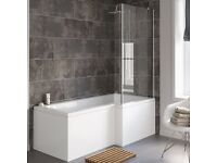 L -Shape Shower Bath (RH), screen and side bath panel