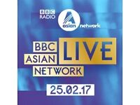 5 x BBC ASIAN NETWORK LIVE TICKETS - SAT 25 FEB 2017 - APOLLO - LONDON - 19:30 - CIRCLE SEATS K72-76