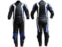 Black/Blue Motorbike Leather Racing Suit! 1 or 2pc