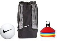 Footballs, cones and a ballbag (8 new Nike Sz.5 training footballs, 150 cones and a Nike ballbag)