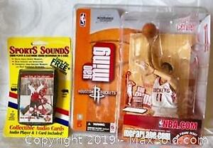 MCFARLANE NBA ACTION FIGURE and SPORTS SOUNDSC AUDIO PLAYER and 1 CARD