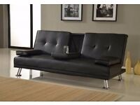 Ex Display Dark Brown 3 seater sofa bed with cup holders. (free local delivery)